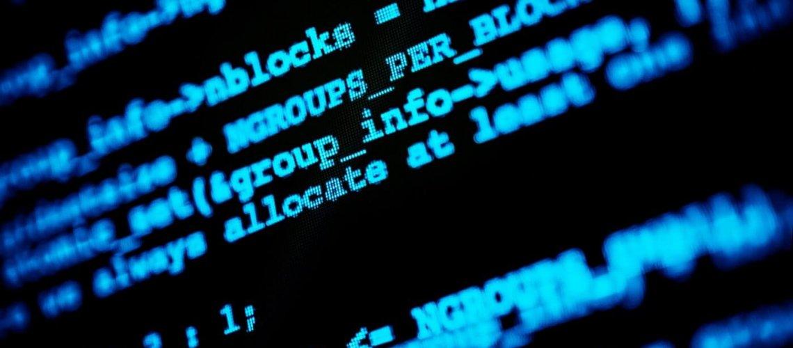 Abstract Hacking Codes. Hacker Computer Screen Closeup